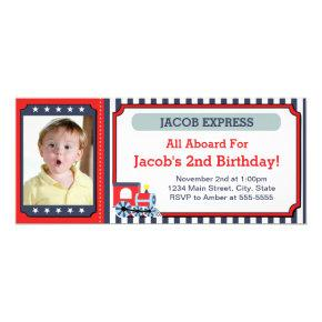 Train Ticket Birthday Invitation Photo Card