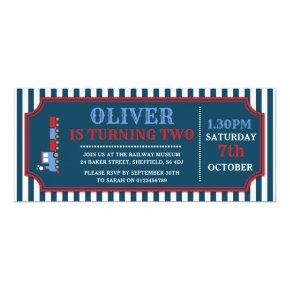 Train ticket birthday party Invitations