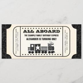 Train Ticket Birthday Party Invitation