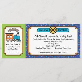 Train Ticket Invite - Dino Thomas Colors