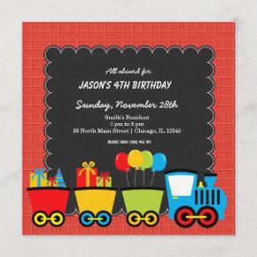 Trains Birthday theme Invitation