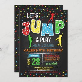 Trampoline Birthday Invitation - Boy