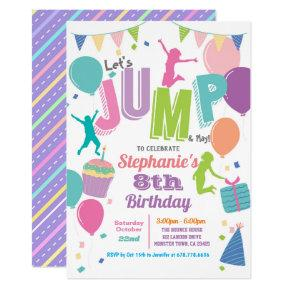 Trampoline birthday party. Girls colorful jump Invitation