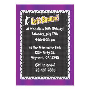 Trampoline Birthday Party Invitations Purple