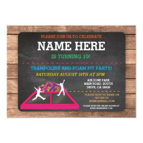 Trampoline Foam Pit Jump Party Birthday Fun Invite
