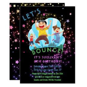 Trampoline Jump Kids Birthday Party Invitations