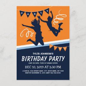 Trampoline Park Boys Kids Birthday Party Invitation
