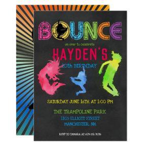 Trampoline Park Party Invitations