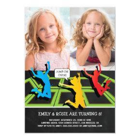 Trampoline Twins Birthday 2 Photo Invitation