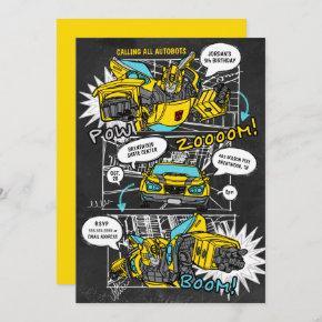 Transformers Bumblebee Chalkboard Comic Birthday