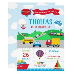 Transportation Birthday Invitation Boy