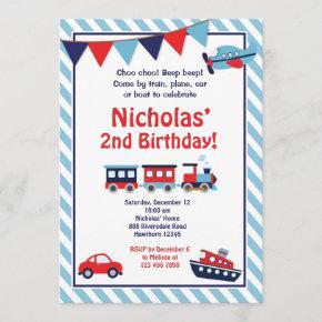 Transportation Birthday Invitation / Train Invite