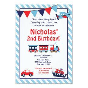 Transportation Birthday Invitations / Train Invite