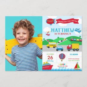 Transportation Birthday Photo Invitation Boy