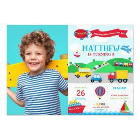 Transportation Birthday Photo Invitation Boy