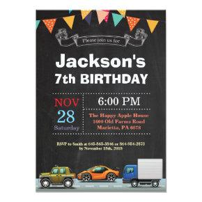 Transportation Car Truck Birthday Invitation