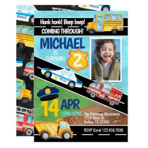 Transportation Car Truck Birthday Party Invitation