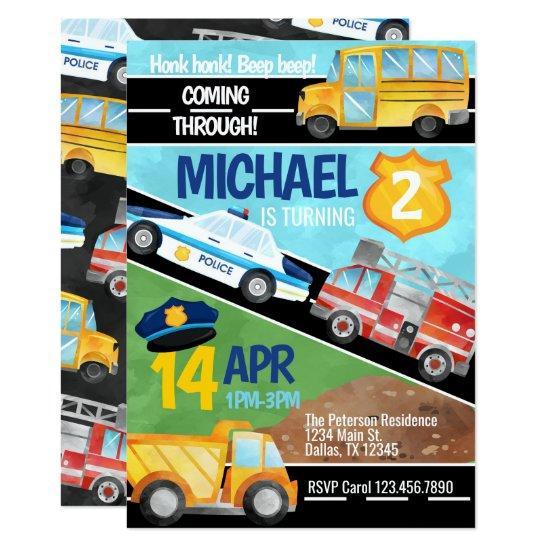 Transportation Car Truck Birthday Party Invitation