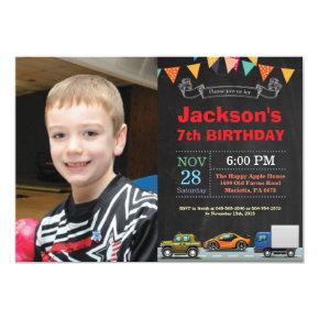 Transportation Car Truck Birthday Photo Invitation