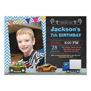Transportation Car Truck Birthday Photo Invitation