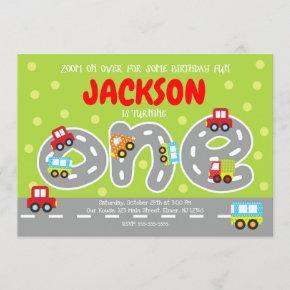 Transportation First Birthday Invitation