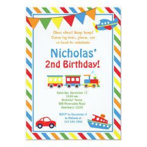 Transportation Invitation / Train Birthday Invite