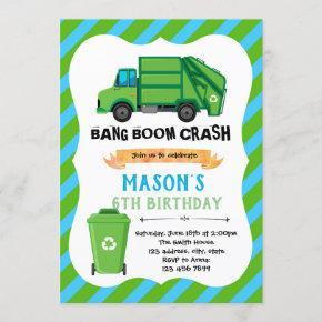 Trash truck birthday theme Invitation
