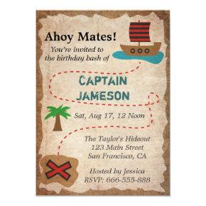 Treasure Map, Pirate Theme Birthday Party Invitations