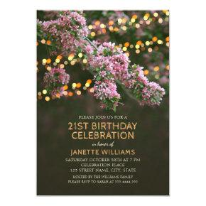 Tree Blossom Lights Rustic Floral 21st Birthday Invitation