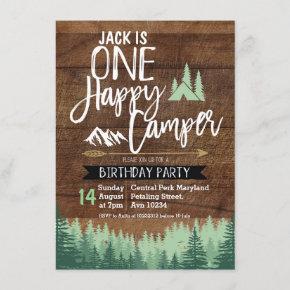 Tree Camper Birthday Invitation Camping Party