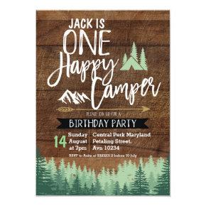 Tree Camper Birthday Invitation Camping Party