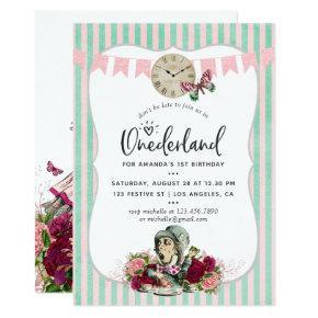Trendy floral Vintage Alice In Onederland Birthday Invitation