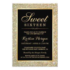 Trendy Gold Glitter Sparkles Sweet Sixteen Party Invitation