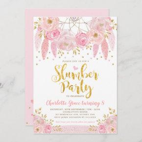 Trendy Pink Dreamcatcher Sleepover Slumber Party Invitation