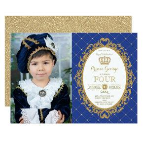 Trendy Prince Birthday Royal Blue Gold Party Photo Invitation