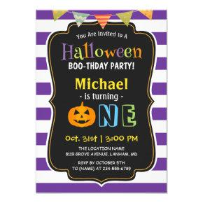 Trendy Purple Halloween Baby First Birthday Party Invitations