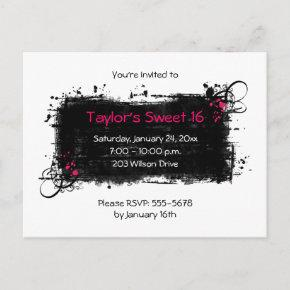 Trendy Sweet 16 Party Invitations