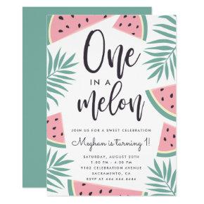 Trendy Tropical Watermelon One In A Melon Birthday Invitation
