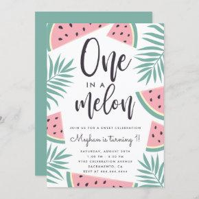 Trendy Tropical Watermelon One In A Melon Birthday Invitation
