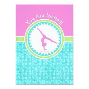 Tri-Pastel Color Gymnastics With Aqua Tile Invitations