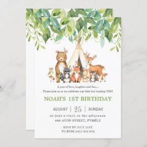 Tribal Woodland Animals 1st Birthday Greenery Invitation