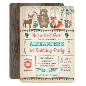 Tribal Woodland Animals Wild One 1st Birthday Invitation
