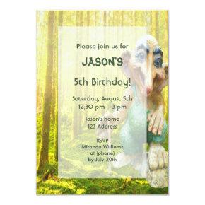 Troll forest birthday party for boys invitation