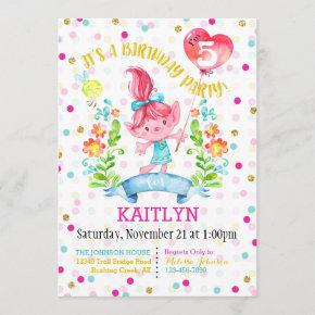 Troll Girl Flowers Balloon Fifth Birthday Invitation