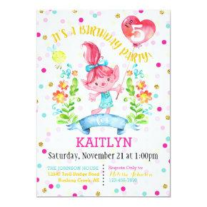Troll Girl Flowers Balloon Fifth Birthday Invitation