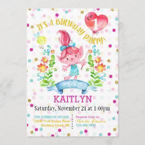 Troll Girl Flowers Balloon First Birthday Invitation