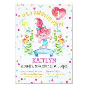 Troll Girl Flowers Balloon First Birthday Invitations