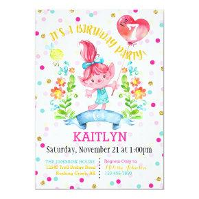 Troll Girl Flowers Balloon Seventh Birthday Invitations