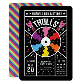 Trolls World Tour - Record Birthday Invitation