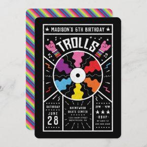 Trolls World Tour - Record Birthday Invitation